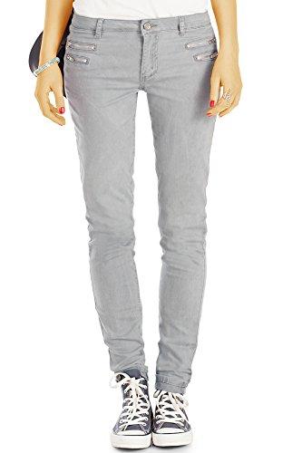 bestyledberlin Damen Slim Fit Hüftjeans, Schmale Jeans, Basic Grey Röhrenjeans j75f 40/L