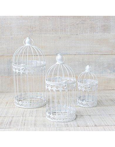 Jaula decorativa blanca de metal para decoración - Diseño elegante France - Hogar y Mas - Mediano