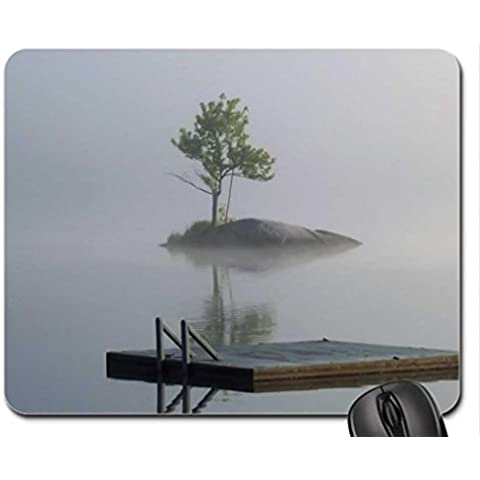 island tree and floating raft in morning mist Mouse Pad, Mousepad (Lakes Mouse Pad)