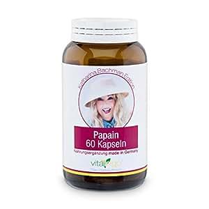 Katharina Bachman Papain Enzym Kapseln (mind. 35 Mio. USP units/g) VEGAN & hochdosiert - 60 Stück Papain Kapseln à 500 mg (400mg Papain, 100mg Kapselhülle Methylcellulose)