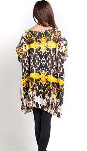 Bigood Pull Grande Taille Femme Tricoté Tops à Manche Longue Sweat-shirt Col Rond Imprimé Blanc #AB