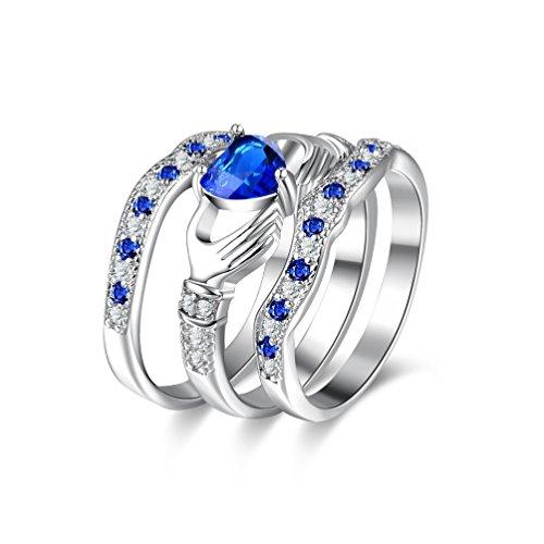 Uloveido Platinum Blue Herz Liebe Ring Irish Freundschaftsring Frauen Engagement Triple Band Set Ring CZ Braut Hochzeit Schmuck HR314-7 (Wedding Sets Platinum Ring)