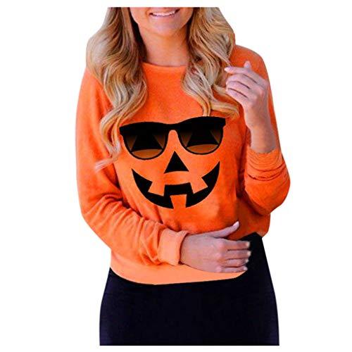 GOKOMO Pullover Langarmshirt Damen Sweatshirtjacken Lang Halloween KostüM Rundhals KüRbis Drucken Langarm Tops Kapuzenpulli(Orange-g,X-Large) -