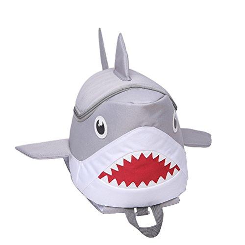 OULII Mochila Infantil Animal Tiburón 3D (Gris)