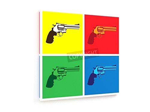 Revolver - 30x30 cm - Textil-Leinwandbild auf Keilrahmen - Wand-Bild - Kunst, Gemälde, Foto, Bild auf Leinwand - Künstler (Kaliber-pistole 30)