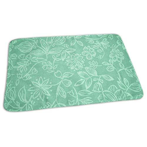 Voxpkrs Mint Green Flowers Pattern Portable Changing Pad,Reusable Unisex Baby Soft Changing Mat with Reinforced Seams