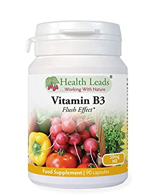 Vitamin B3 Niacin/Nicotinic Acid (Flush Effect) 50mg 90 capsules, Magnesium Stearate Free & No Nasty Additives, Made in Wales