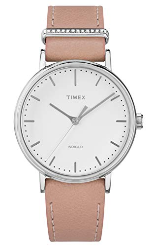 Timex Damen Analog Quarz Uhr mit Leder Armband TW2R70400 - Band 16mm Watch Timex