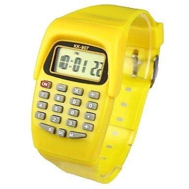 XKC-watches Herrenuhren, Kids' Charm Watch Calculator Calendar Quartz Digital Candy Color (Farbe : Gelb, Großauswahl : Einheitsgröße) Candy Tech