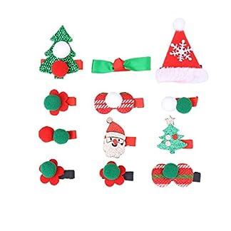 Amosfun 12 piezas lindas pinzas para el cabello de navidad santa árbol de navidad pasadores pinzas para el cabello niña horquillas fiesta de navidad favorece regalos