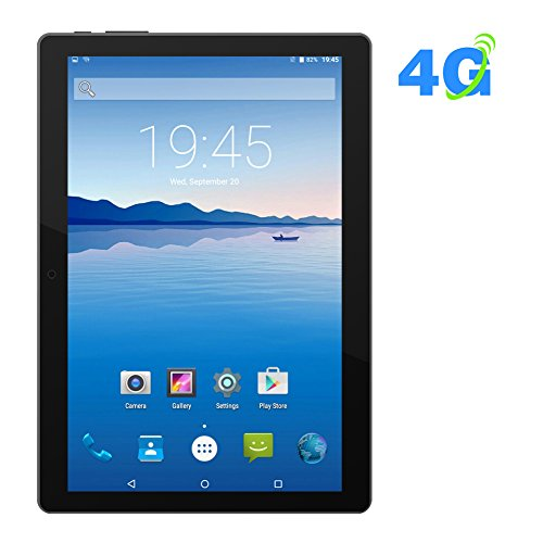 Price comparison product image PADGENE 4G Android Tablet 10.1 Inch Phablet With WIFI Bluetooth4.0 GPS Dual Sim Card Slot Dual Camera Ultra Slim Tablet PC Quad Core MT6735 Processor 1GB RAM 16GB ROM [2018 New Release]