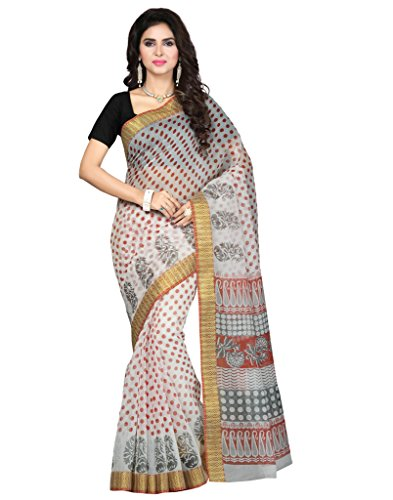 Saree Swarg White Cotton Blend Printed Saree with Blouse Piece  available at amazon for Rs.515