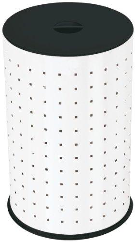 Hailo Wäschebehälter, Gehäuse aus Stahlblech, 42 Liter, rutschsicherer Kunststoff-Bodenring, stabiler Kunststoff-Sitzdeckel, made in Germany, 0744-321