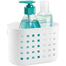 cesta de pl/ástico peque/ña para ba/ños ideal para accesorios de ducha y de aseo personal InterDesign Zia Cesta de almacenamiento transparente