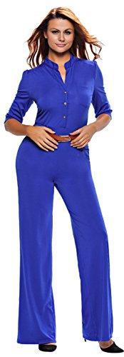 La Vogue Femme Combinaison Rompers Pantalons Jambes Larges Bleu