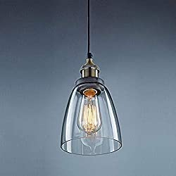 Unimall Vintage Industrial Glass Pendant Lights Living Room Retro Clear Glass Lampshade Pendant Ceiling Lamp with Bronze Metal E27 Base Hanging Lighting Fixture for Bedroom Kitchen Restaurant