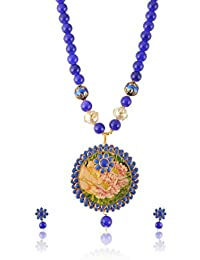SINJARA Blue Non-Precious Metal Strand Necklace Set For Women Party Wear (N-11)