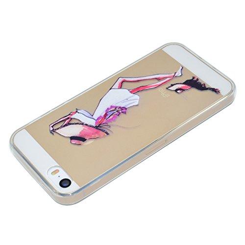 iPhone 5S / iPhone SE Hülle, Voguecase Silikon Schutzhülle / Case / Cover / Hülle / TPU Gel Skin für Apple iPhone 5 5G 5S SE(Hut Mädchen) + Gratis Universal Eingabestift Haustier Mädchen