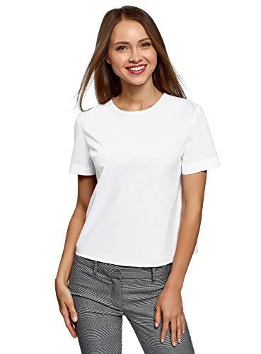 Weiße Baumwolle Blusen (oodji Ultra Damen Lässige Bluse aus Baumwolle, Weiß, DE 36 / EU 38 / S)