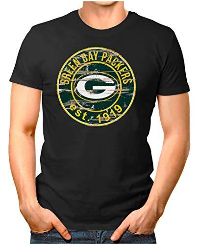 OM3® - Green Bay-Badge - T-Shirt | Herren | American Football Shirt | XXL, Schwarz