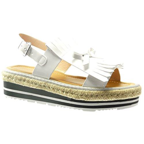 Angkorly Chaussure Mode Sandale Espadrille Plateforme Femme Frange Noeud Verni Talon Compensé 5 CM Blanc