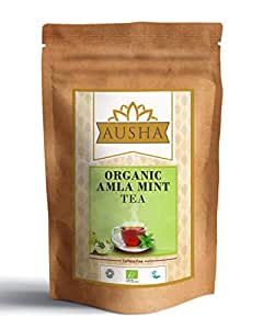 AUSHA Organic Amla Mint Tea(Indian Gooseberry) - 25 Bags (High in Vitamin C 500mg per Tea Bag,Immunity Boost,Caffeine Free, Unbleached,Detox,High in Anti Oxidants,Anti-Aging)