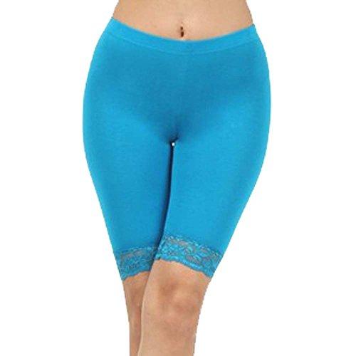 Cord-stretch-leggings (Damen Baumwoll-Lycra-Stretch (ref: 2195 geschnürt) trimmen oberhalb des Knies Radhose aktiv Legging mit Spitze (Medium, Himmelblau(sky blue)))