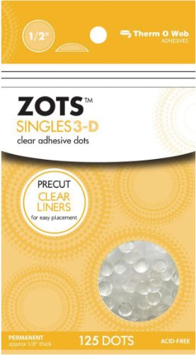Zots Singles Clear Adhesive Dots-3D 1/2