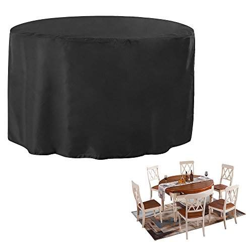 JTDEAL Fundas impermeables para mesa redonda, Cubre mesa jardin negro, Oxford fundas para proteger muebles de Jardín, Patio, Terraza, Interior(128 X 71CM)