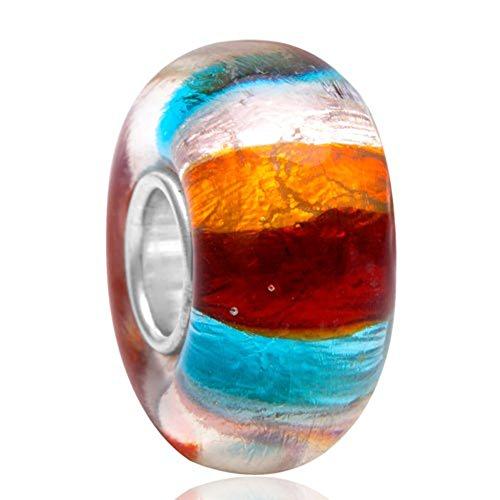 Lume in vetro di murano charm in argento sterling 925con ciondolo a forma di fiore ciondolo a forma di foglia anniversary charm per braccialetti pandora b