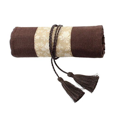 Homyl Fashion Roll Canvas Wrap Makeup Cosmetic Brush Pen Pencil Case Organizer Roll Up Pouch Bag, National Chinese Style with Tassel Wrap Rope