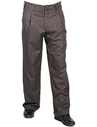 Schokobraun weiss gestreifte Bundfaltenhose im Stil der 50er, 60er für Herren BESTE QUALITÄT Luxus-Bundfaltenhose bei HK Mandel, Hosen Modell: Swing, 301609
