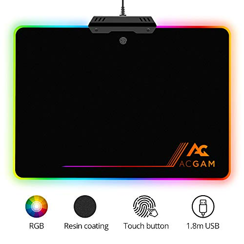 ACGAM P09 Gaming Mauspad mit RGB Beleuchtung/Chroma-Effekt (6 LED Farben / 9 Beleuchtungs-Modi/USB/Harte Oberfläche) Desk Anti Rutsch Matte für Computer schwarz