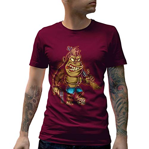 A429MCNTM Herren T-Shirt Killer Kong Animals Cartoon Hand Drawn Gorilla Monkey Ink Drawing Guns Classic Vintage Evil Funny(Large,Maroon) - Monkey-t-shirt Evil