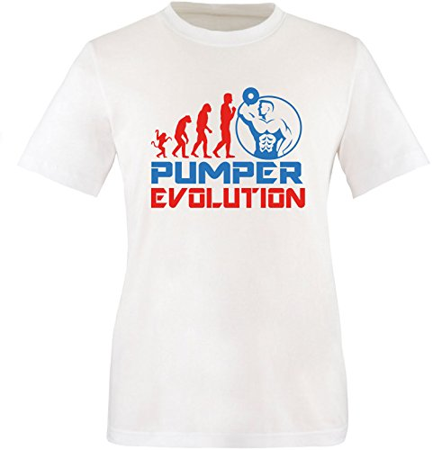 EZYshirt® Pumper Evolution Herren Rundhals T-Shirt Weiss/Rot/Blau