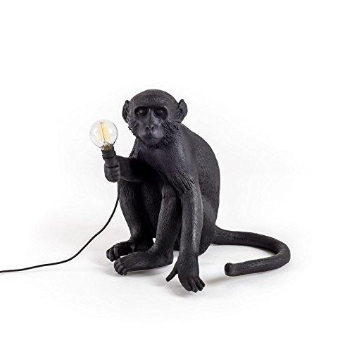 Seletti Monkey Lamp Sitzend, Harz, Schwarz, 45 x 39 x 36 cm