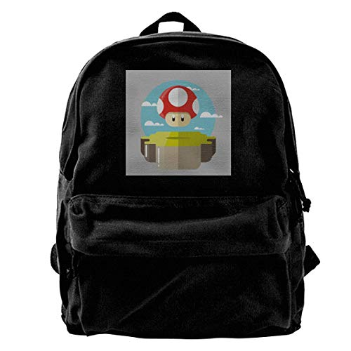 YANNAN Canvas Backpack Su-per Ma-Rio Brothers Power Up Mushroom Rucksack Gym Hiking Laptop Shoulder Bag Daypack for Men Women