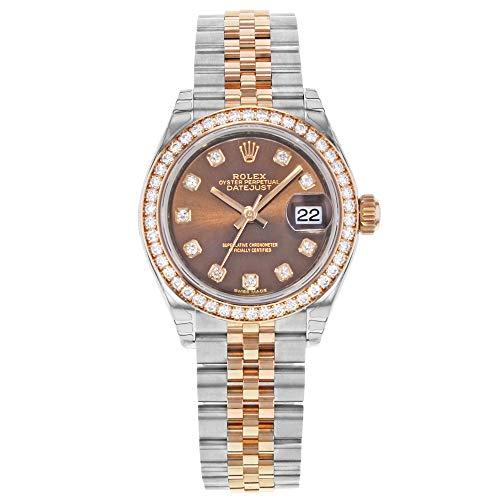Rolex, Datejust 279381,orologio da donna con quadrante marrone in acciaio...