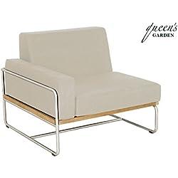 QUEEN GARDEN exklusives Loungemodul Baro Armlehne rechts ausgerichtet, Sessel aus hochwertigem Edelstahl und FSC Teakholz, inkl. Auflage in taupe, ca. 85 x 85 x 72 cm, Kissenbezug waschbar