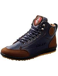 2018 Hombres PU Botines de Cuero con Cordones Zapatos Casuales Zapatos de Gran Altura al Aire Libre Calzado Casual