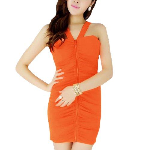 Damen Crossover Träger Frontreißverschluss Ärmellos Rüschen Detail Kleid Orange