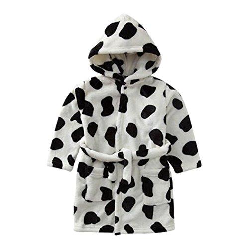 Hzjundasi Weich Gemütlich Flanell Baumwolle Kapuze Bademantel Kleinkinder Kinder Pyjama Schlafanzüge Kapuze für Mädchen Jungen -