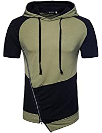 Men Short Sleeve Shirts,Moonuy,Mens Shirts Casual,Boy Zipper Patchwork Hat Workout Winetr Autumn Summer T-Shirt Casual Fashion Handsome T-Shirt Tank Tops Blouse Pullover For Ladies
