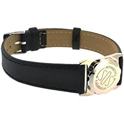 SOS Talisman Watch Style XXXL Stainless Steel Black Flat Strap With Chrome Buckle - 18mm Wide