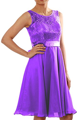 MACloth Women Short Lace Chiffon Bridesmaid Dress Cocktail Party Formal Gown purple