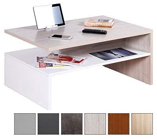 RICOO Table Basse carrée Design pour Salle de séjour WM080-W-EP avec Porte-revues Décoration Maison Salon en Bois Decor Blanc et Chêne Picard