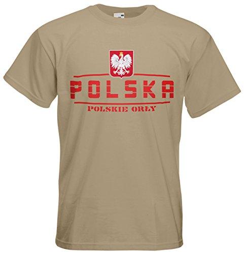 Polen Polska EM 2016 Fanshirt T-Shirt Trikot (Khaki, M)