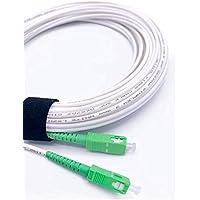 Elfcam® - Câble/Rallonge Fibre Optique {Orange SFR Bouygues} - Jarretière Simplex Monomode SC-APC à SC-APC - Blindage et…