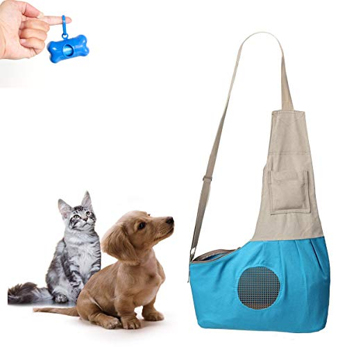 Teammao Mochila para Mascotas Transpirable Cómodo Transportadora de Perro Gato Doble Mochila Bolso de Escuela para Viajes, Bicicleta, Senderismo, Compras. (Azul)