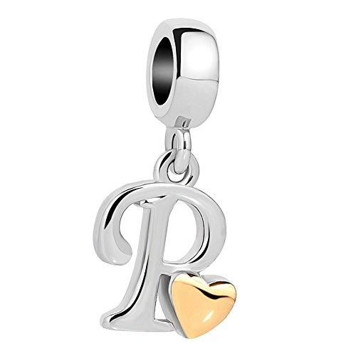 Ciondolo pendente korliya a forma di lettera dell'alfabeto a-z con cuore, per bracciale e rame, cod. emw_dpc_my893